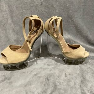 Tan and clear unique heels